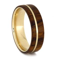 14k Gold Ring with Desert Ironwood and Yellow Gold Pinstripe, Waterproof Wood Wedding Band