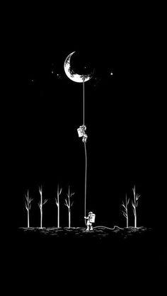 【人気71位】【おしゃれなスマホ壁紙】「月に登って」