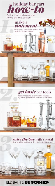 A bar cart is a must for holiday entertaining. It keeps party essentials organized and spirits bright all night by making it easy for friends to help themselves. Alcoholic Drinks, Cocktails, Beverages, Decoration Inspiration, Easy Home Decor, Bars For Home, House Party, Bartender, Entertaining