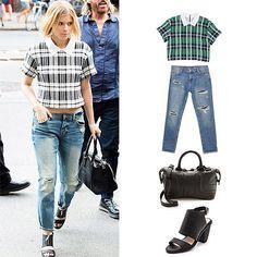Boyfriend Jeans: Recreate Kate Mara's look: Zara jeans, $80, zara.com; Sea top, $265, shopbop.com for similar style; See by Chloe bag, $395, shopbop.com; Sol Sana shoe, $180, shopbop.com. #InStyle