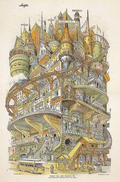 Grant Hamilton's illustration of a futuristic city called 'What We Are Coming To' appeared in Judge magazine in Building 'Imaginary Cities' - CityLab Art And Illustration, Arte Steampunk, Futuristic City, Environment Design, Retro Futurism, Illustrators, Fantasy Art, Dark Fantasy, Cool Art