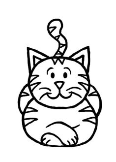 View image: cartoon cat coloring page