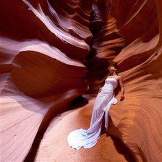 Jennifer Salvage took her dress to Antelope Canyon.