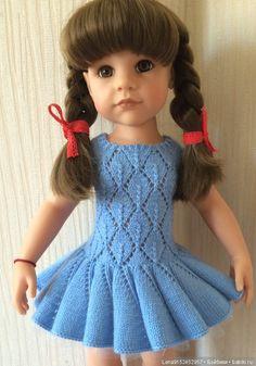 Предлагаю нарядное платье для куколок Готц и им подобным. Платье связано мной из качественной пряжи «Люкс» -100% мериносовая шерсть. Цвет / 700р