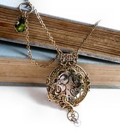 Steampunk necklace Victorian pocket watch style by Federikas