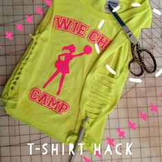 """Kid's camp shirt too big? Just hack it! Cut sleeves & neckline off; cut two strips (from the sleeves) to tie the shoulders so they cinch), then with the shirt laying flat cut to about 1"""" in from the side (so you have 2"""" worth of cut from front and back), about every 1/4"""" up the side. I used a crochet hook to weave through the strips, but you could also just cut the strips in the center then knot them individually."""