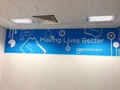 Creative Office Branding using wall graphics. Wall Stickers give a professional look to an office or business. With installation and fitting available we can transform your space into a workplace worth working in. Wall Decals and transfers are the perfect Modern Wall Stickers, Custom Wall Stickers, Removable Wall Stickers, Bedroom Stickers, Office Wallpaper, Office Branding, Digital Wall, Office Decor, Office Ideas