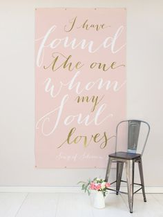 Gold Quote Wedding Backdrop Custom Quote by MissDesignBerryInc