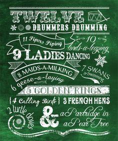 Twelve Days of Christmas - Chalkboard Print on Etsy