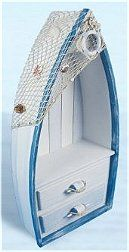 Painted distressed white & blue. It has decorative fish netting, seahshells & a life ring attached to it adding to the authentic look. The drawer handles are small buoys. It will add a definite nautical touch to wherever it is placed and is a must have for those who appreciate high quality nautical decor. It makes a great gift, impressive decoration and will be admired by all those who love the sea..