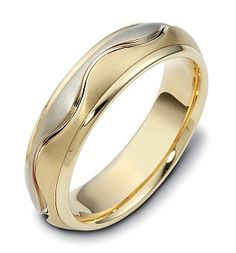 6mm Wave Style Two-Tone Gold Comfort Fit Wedding Band