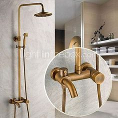 Traditional Shower System Rain Shower Handshower Included with Ceramic Valve Single Handle Three Holes for Antique Brass , Shower Faucet 2017 - $257.99