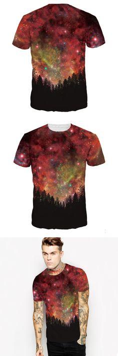 3d T-shirt Hot Style Men High-end Fashion Personality Sky Digital Printing Short Sleeve T-shirt Leisure Plus Size Men T Shirt