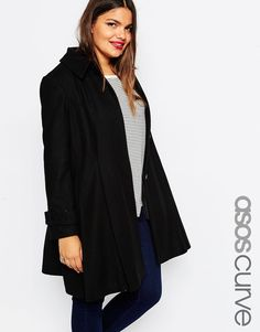 Image 1 of ASOS CURVE Dolly Skater Coat