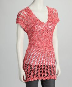 Take a look at this Coral Crocheted Top by Young Threads on #zulily today! $29.99