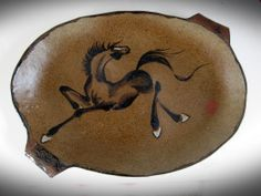 Oval brown stoneware platter with dancing horse by Tracie Griffith Tso of Reston, Va. Animal Symbolism, Year Of The Horse, Lunar New, Chinese Painting, Silk Painting, Platter, Stoneware, Dancing, Spirit