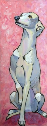 "Daily Paintworks - ""Iggy on Pink"" - Original Fine Art for Sale - © Ande Hall"