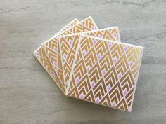 Gold Foil Coasters, Gold Foil Gift, Gold and Pink Coasters, Gold Geometric Coasters, Geometric Coasters, Tile Coasters, Glam Coasters by JulesfortheHome on Etsy