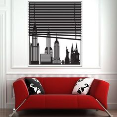 """Style and Apply New York View Wall Decal Size: 55"""" H x 46"""" W, Color: Silver"""