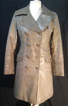 Orsay Genuine Leather Lined Trench Coat Size M #Orsay #Trench