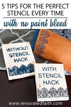 The Best Way to Stencil on Wood [Without Bleeding!] Don't let your next project be ruined because of paint bleeding through your stencil. In this post, I share 5 easy to stencil on wood perfectly every time! Lace Stencil, Stencil Wood, Stencil Diy, Stencil Painting, Painting On Wood, Stenciling, Stencil Letters On Wood, Painting Tips, Stencils For Wood Signs
