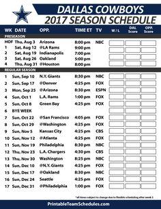 Dallas Cowboys Football Schedule 2017