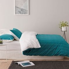 Micra Quilt Cover Set Teal