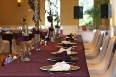 Plum wedding decor head table