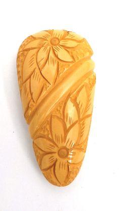 Vintage Antique Bakelite Dress Clip Huge Carved Yellow 1920s
