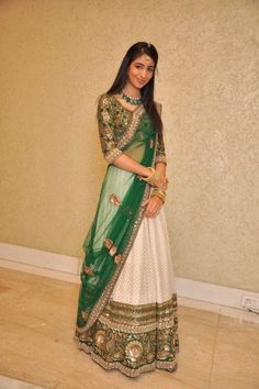 White and green bridal lehenga. Can be made in any color and fabric. India Fashion, Ethnic Fashion, Asian Fashion, Bridal Lehenga, Lehenga Choli, Anarkali, Indian Attire, Indian Ethnic Wear, Saris