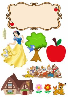Disney Princess Party, Princess Theme, Diy Cake Topper, Cake Toppers, Snow White Dwarfs, Snow White Cake, Birthday Banner Template, Kids Doll House, Unicorn Themed Birthday Party