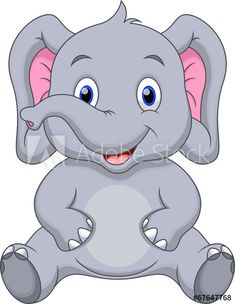 Cute baby elephant cartoon - Buy this stock vector and explore similar vectors at Adobe Stock Baby Elephant Drawing, Cute Elephant Cartoon, Cute Baby Elephant, Cute Cartoon Animals, Baby Cartoon, Baby Elephants, Art Drawings For Kids, Cartoon Drawings, Easy Drawings