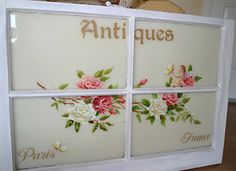 Hand painted vintage window by artist Marsha Bowers/Zulim Bowers Designs. Painted with artist oil