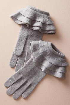 Anthropologie Ruffled Cuff Gloves