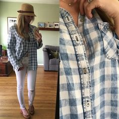 ▪Very Soft Vintage Plaid Button-down Brand New, tags attached. Size Large available. Modeling Large. LOVE LOVE LOVE. This has a worn in vintage feel and look to it. Ultra soft and not the stiff feel. Lightweight and great for spring Tops Button Down Shirts