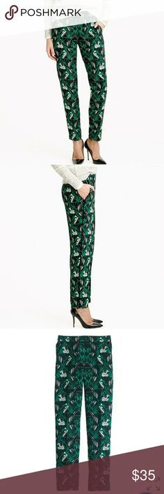 "J. Crew Tuxedo Pants in Retro Floral 6 These J. Crew pants are gorgeous! Designed with an art-nouveau-inspired pattern in bright green, black and white. Relaxed through hip and thigh, with a slim, ankle-length leg. The effect is dressy and sporty all at once, so they look good with pumps or sneakers. Elastic-back waist that is 14.5"" laid flat. 28.5"" inseam. Excellent condition, looks new. J. Crew Pants"