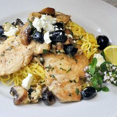 """Mediterranean Lemon Butter Chicken - Today's recipe once again comes comes under the """"Quick and Easy"""" banner but that doesn't mean that it compromises on taste. The rich and buttery sauce is tempered by the slight saltiness of feta cheese and sun dried olives and brightened by the fresh herbs and tangy lemon. Just delicious."""