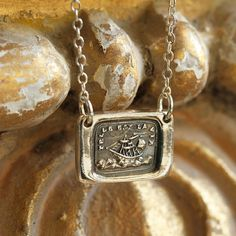 Telle Est La Vie, Ship at Sea Victorian Wax Seal Necklace - Fine Silver, Sterling Silver on Etsy, $42.00