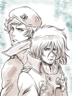 young Captain Harlock and Commander Leopold - Space Symphony Maetel