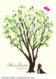 """This is a fantastic alternative to traditional guest book. It is an interactive and a beautiful keepsake for you to cherish for years to come! This print features a kissing wedding couple silhouette and a wedding tree with two balloons (initial on each of them) printed on a high quality, archival paper with archival inks. Guests """"leaf"""" a fingerprint on the guest book poster and create a brilliant tree together! This is unframed. Standard frame size is readily available at most craft/ art..."""
