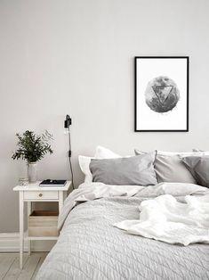 Glitch Effect Moon Wall Art Décor, Geometric Simple Art, Geometric Home Decor, Monochrome Printable Print, Above Bed Poster Light Gray Bedroom, Gray Bedroom Walls, Light Grey Walls, Grey Room, Room Ideas Bedroom, Bedroom Inspo, Dark Grey Carpet Bedroom, Bedroom Wall Lights, Ikea Wall Lights