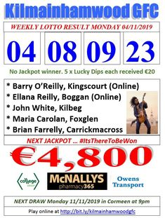 Support the fundraising efforts of Kilmainhamwood GFC, Kilmainhamwood Kells, Meath. Lotto Draw, Jackpot Winners, Number Drawing, O Reilly, Text Messages, Fundraising, Effort, Dip, Texts