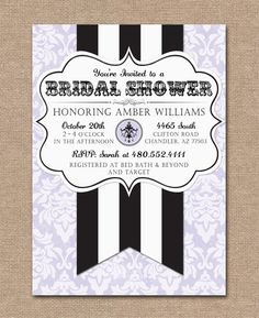 Bridal Shower Invitation ~ French Theme ~ Purple Damask