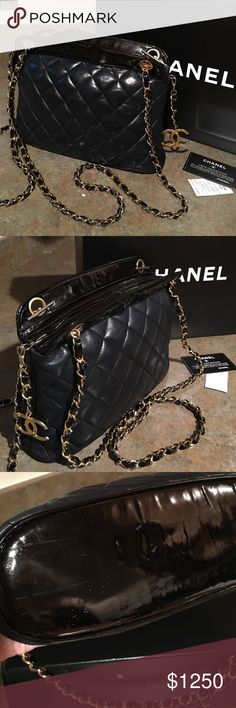 """CHANEL, AUTHENTIC LAMBSKIN """"CHAIN STRAP"""", SHOPPER. Chanel, """"vintage""""black leather & patent leather bag. This authentic Chanel quilted shopper has chain straps that are 38in.long & detachable,and a large CC charm on the zipper pull & 2 zipper pockets on the inside 1 with a CC charm.The bag is 11inW/8inH & 4in across the bottom.There are no cuts or marks just normal signs of wear on the leather & hardware.The bottom has some scratches & there is wrinkling and some dulling in the patent leather…"""