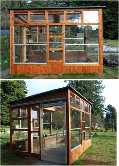 Greenhouse out of reclaimed windows from construction job sites (including two large skylights) and sliding glass turned 'barn' door, raised bed out of an old deck, and topped off with a layer of sand to remind one of a beach. Designed and made by me and my husband, and you can do it too!: