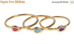 SALE 14K Gold plated stacking delicate drop ring inlaid with colorful enamel, 14K Gold Filled stacking delicate drop knuckle ring