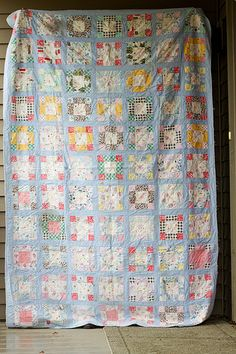"softly toned and gently coloured hued vintage quilt.I really like the colours of the patchwork pattern against the paler blue/grey background sashing.a possible solution for piecing ""dear ethel"" perhaps. Old Quilts, Antique Quilts, Scrappy Quilts, Vintage Quilts, Baby Quilts, House Quilts, Quilting Fabric, Quilting Tutorials, Quilting Projects"