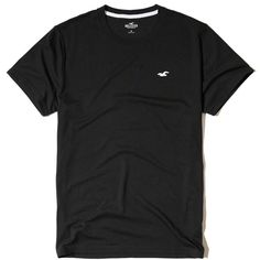 Hollister Must-Have Crew T-Shirt (25 BRL) ❤ liked on Polyvore featuring men's fashion, men's clothing, men's shirts, men's t-shirts, black, mens slim shirts, mens slim fit t shirts, mens slim fit shirts, mens slim t shirts and j crew mens shirts