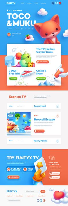 Kids TV channel game #website – #Ui design concept and visual styling by, the greatest, Mike | CreativeMints