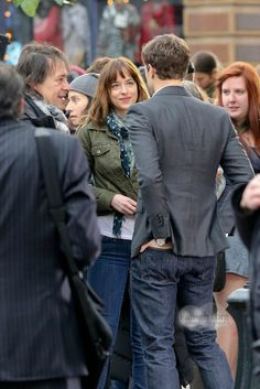 Jamie Dornan and Dakota Johnson on the set of fifty shades of grey in vancouver